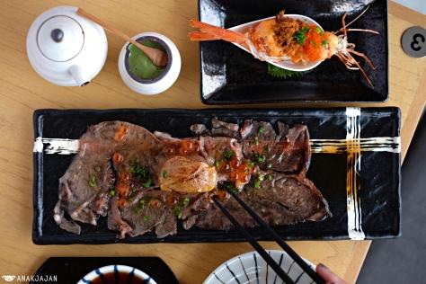 Aka Ebi Spicy IDR 88k (1pcs), Aburi Kagoshima Foie Gras Ikura IDR 95k (1pcs)