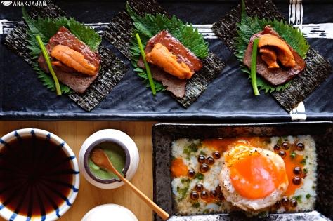 Nori Seaweed, Beef, Uni, Shiso and Spring Onion, Aburi Engawa Onsen Roll IDR 55k (1pcs)